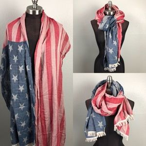 Distressed Stars and Stripes American Flag Scarf